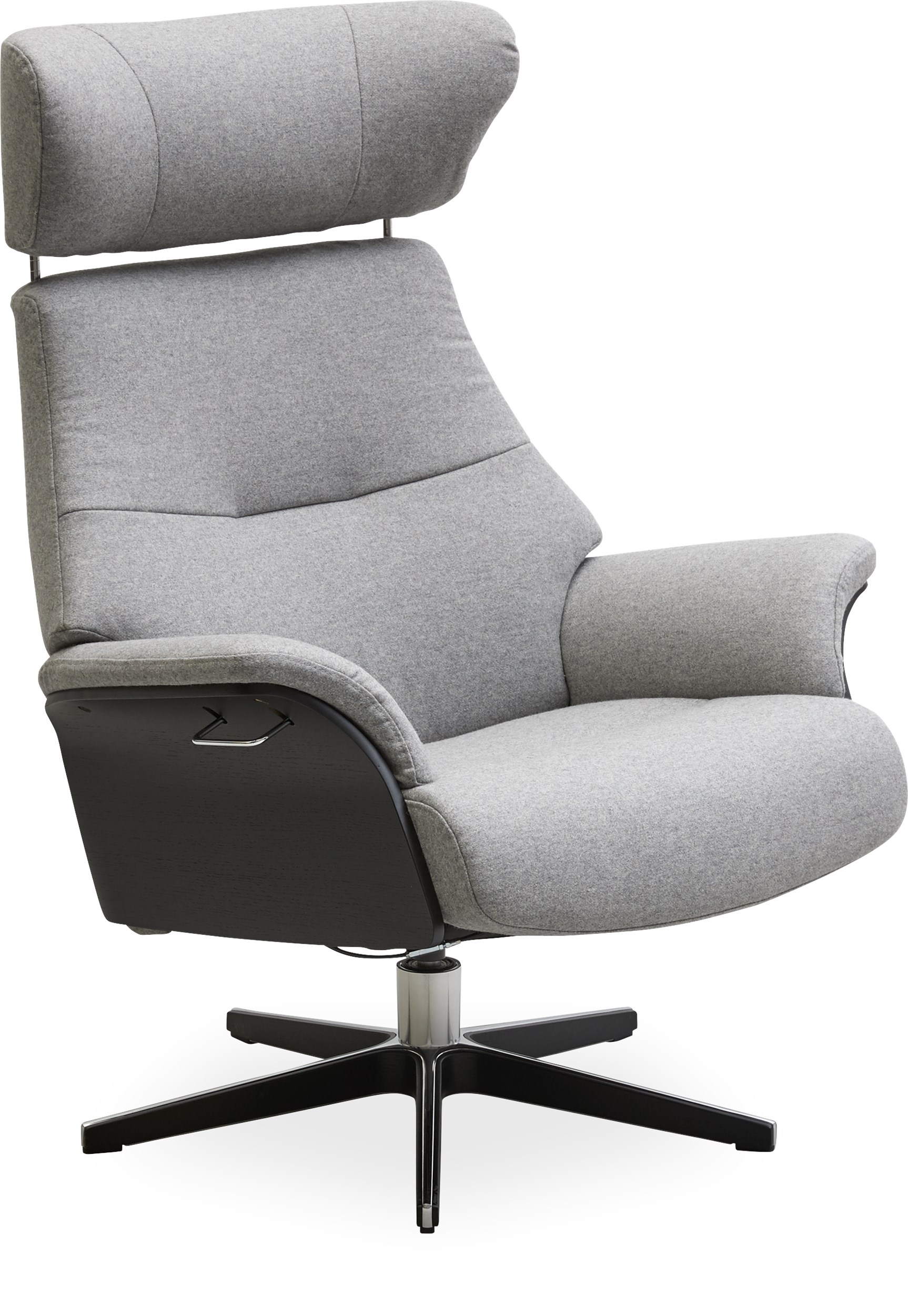 Air Fåtölj - Sheford 1383-72 Light Grey textil, armrest in black-stained oak och fot i aluminium/svartbetsad ek