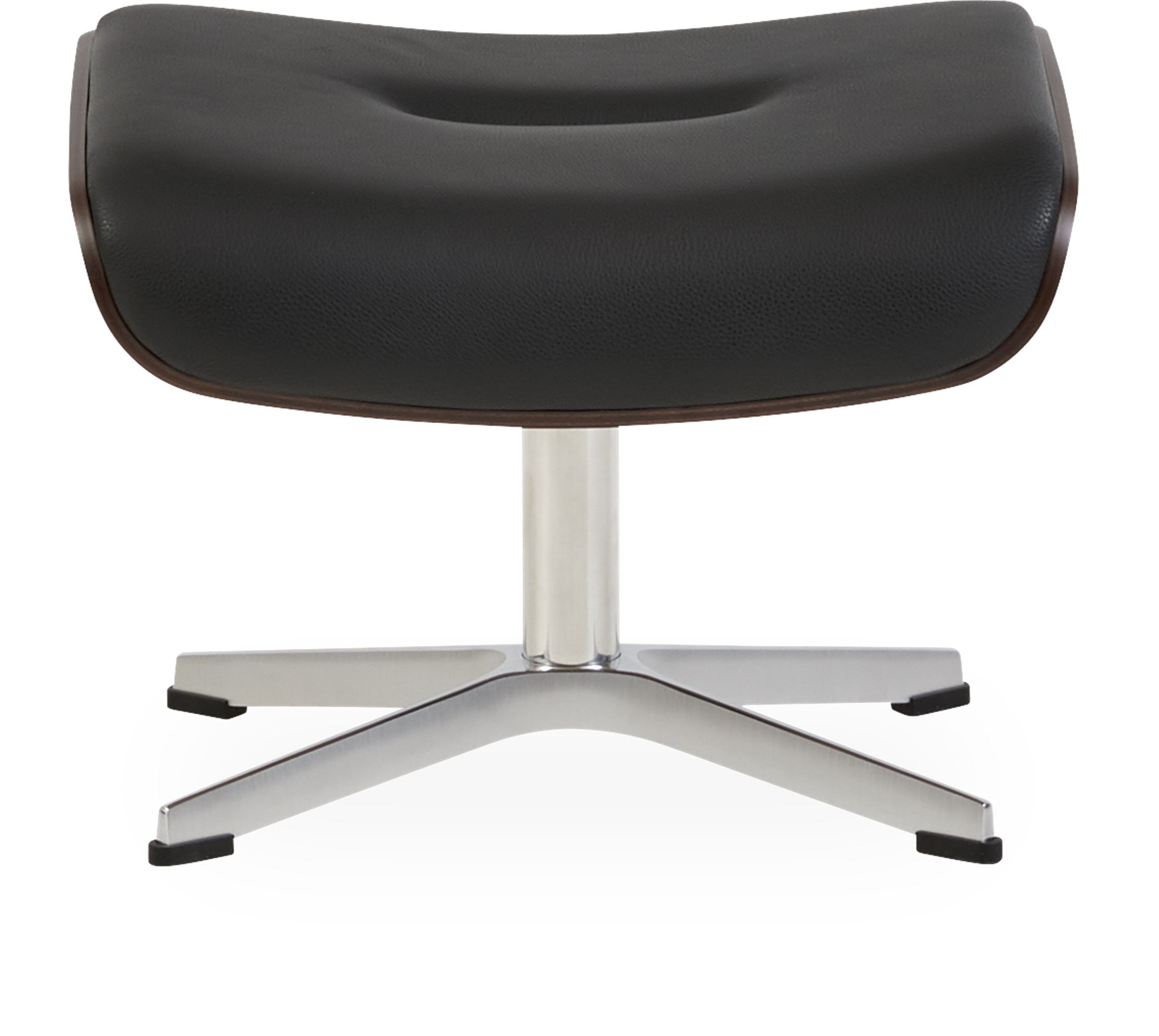 Air Fotpall - Fantasty 2514-89 black läder, sides in walnut och fot i aluminium