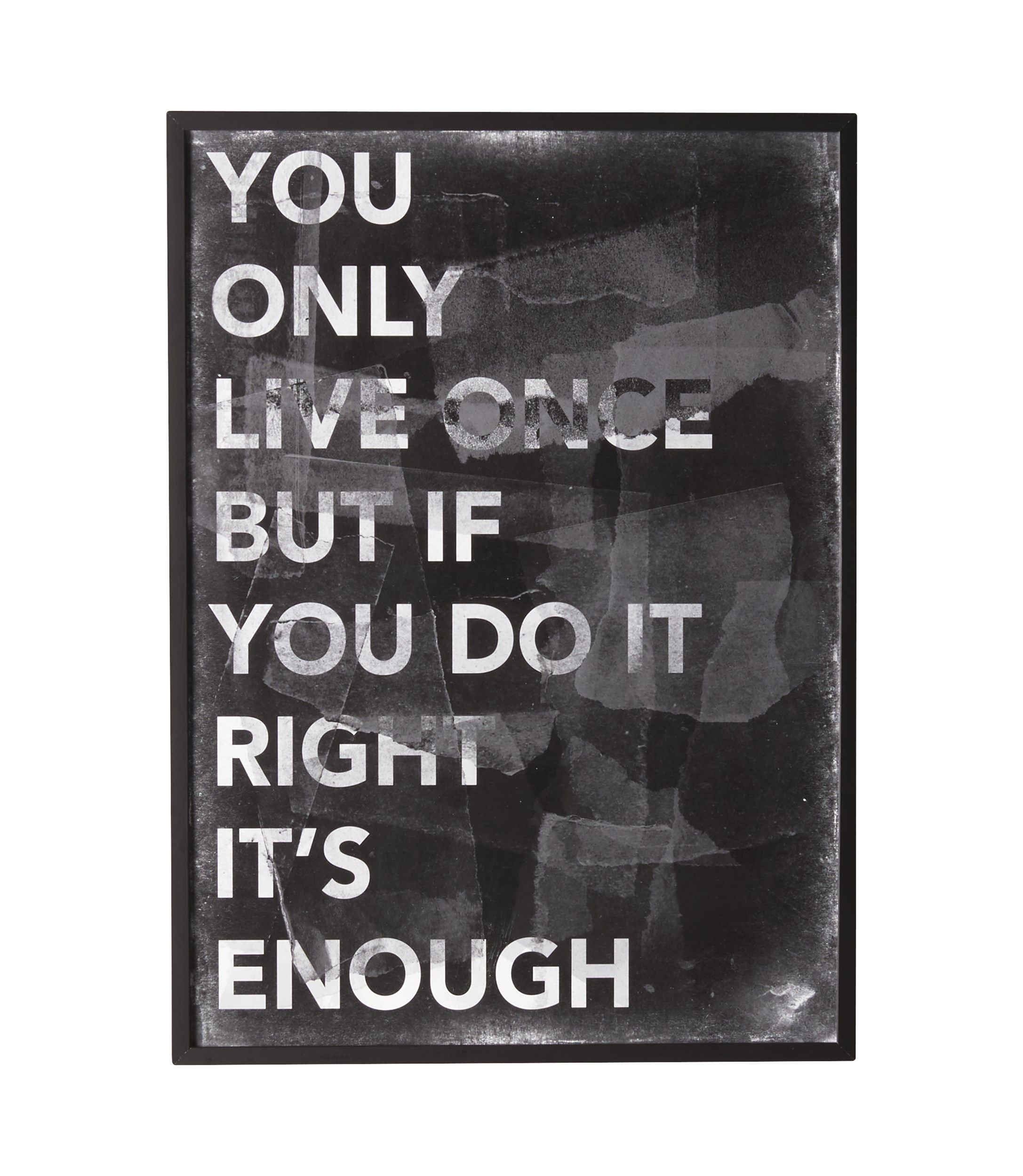 You Only Live Once affisch med ram, stor 50 x 70 cm - Blank