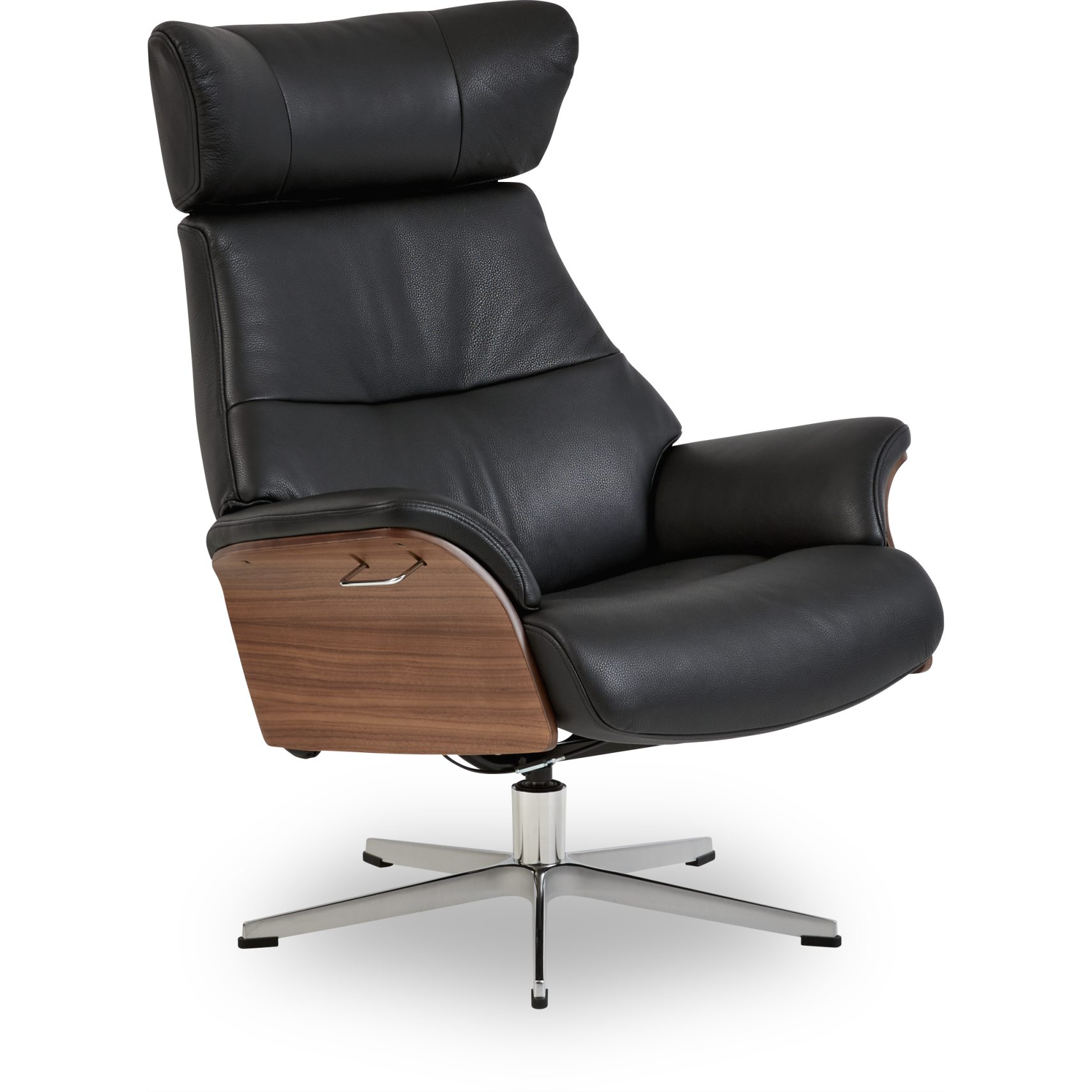 Air Fåtölj - Fantasty 2514-89 black läder, armrest in walnut och fot i aluminium