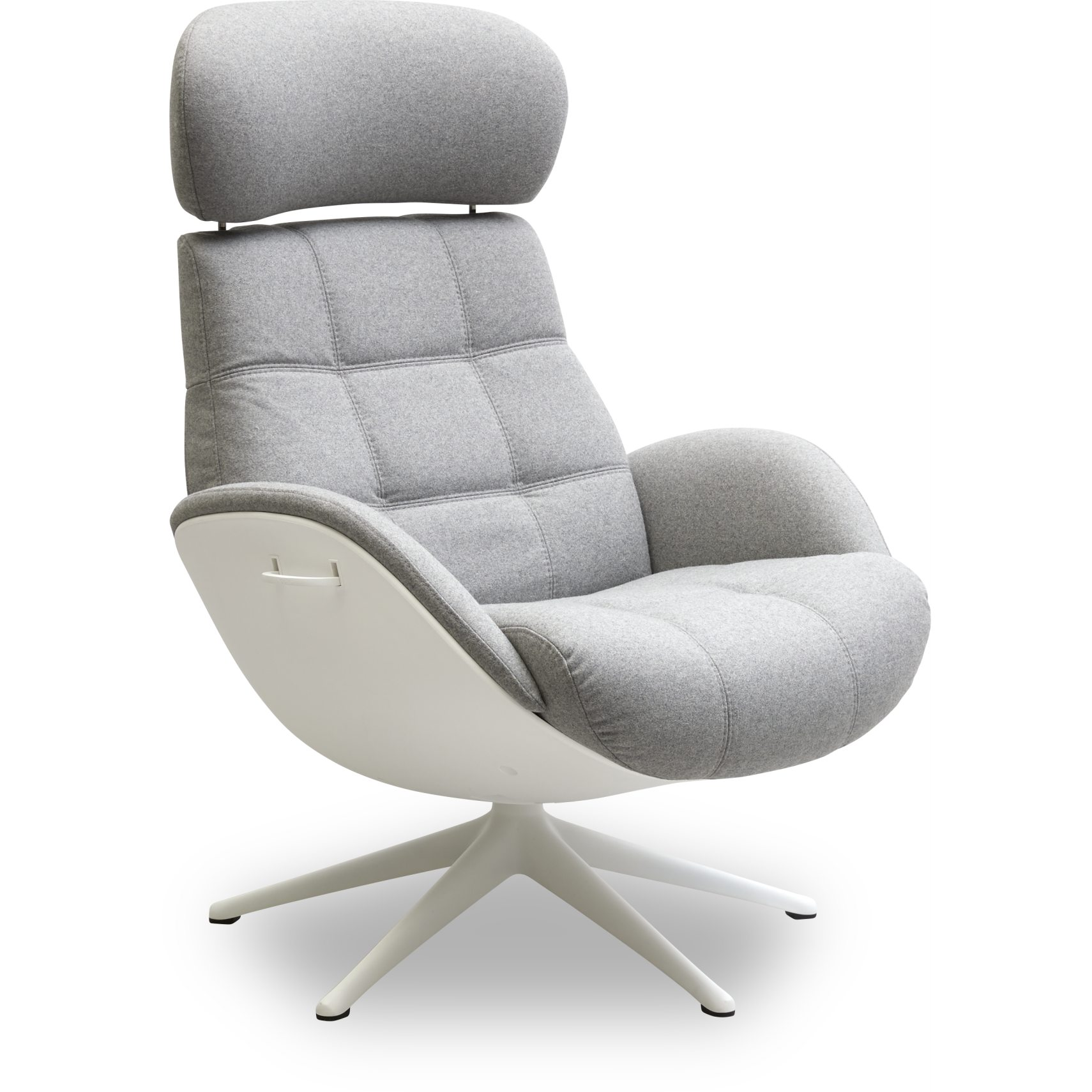 FLEXLUX® Chester Fåtölj - Lana wool 1523 light grey tyg, skal i Winter White-komposit och sockel i vitlackerad aluminium