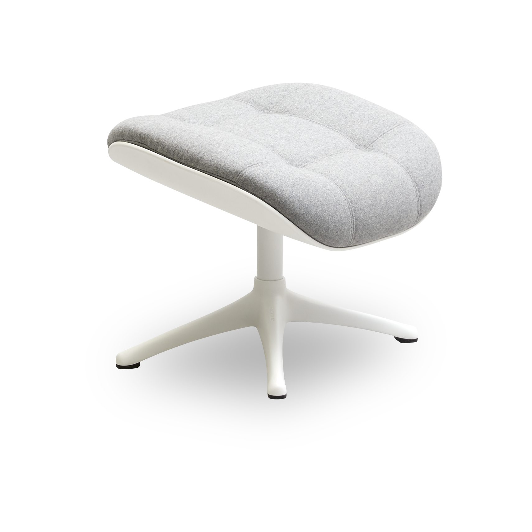 FLEXLUX® Chester Fotpall - Lana wool 1523 light grey tyg, skal i Winter White-komposit och sockel i vitlackerad aluminium